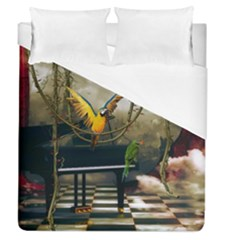 Funny Parrots In A Fantasy World Duvet Cover (queen Size) by FantasyWorld7