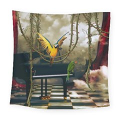 Funny Parrots In A Fantasy World Square Tapestry (large) by FantasyWorld7