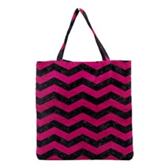 Chevron3 Black Marble & Pink Leather Grocery Tote Bag by trendistuff