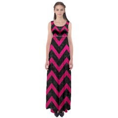 Chevron9 Black Marble & Pink Leather (r) Empire Waist Maxi Dress