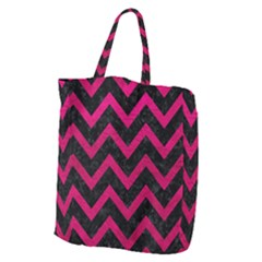 Chevron9 Black Marble & Pink Leather (r) Giant Grocery Zipper Tote by trendistuff
