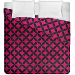 Circles3 Black Marble & Pink Leather Duvet Cover Double Side (king Size) by trendistuff
