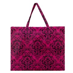 Damask1 Black Marble & Pink Leather Zipper Large Tote Bag by trendistuff