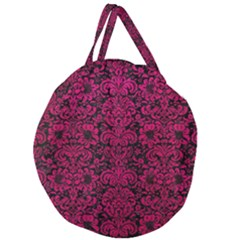Damask2 Black Marble & Pink Leather (r) Giant Round Zipper Tote by trendistuff