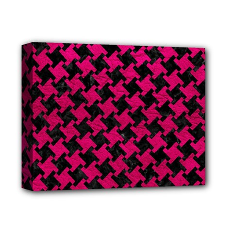 Houndstooth2 Black Marble & Pink Leather Deluxe Canvas 14  X 11  by trendistuff