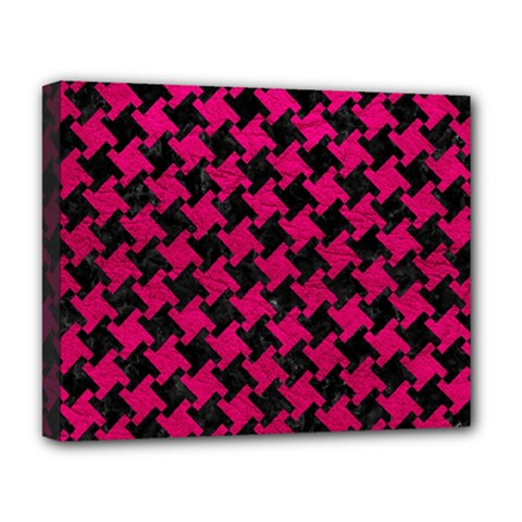 Houndstooth2 Black Marble & Pink Leather Deluxe Canvas 20  X 16   by trendistuff
