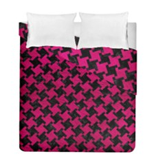 Houndstooth2 Black Marble & Pink Leather Duvet Cover Double Side (full/ Double Size) by trendistuff