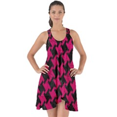 Houndstooth2 Black Marble & Pink Leather Show Some Back Chiffon Dress by trendistuff