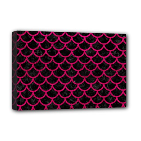Scales1 Black Marble & Pink Leather (r) Deluxe Canvas 18  X 12   by trendistuff