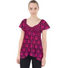 Scales2 Black Marble & Pink Leather Lace Front Dolly Top