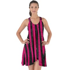 Skin4 Black Marble & Pink Leather Show Some Back Chiffon Dress by trendistuff