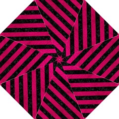 Stripes3 Black Marble & Pink Leather Straight Umbrellas by trendistuff