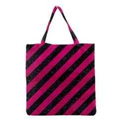 Stripes3 Black Marble & Pink Leather (r) Grocery Tote Bag by trendistuff