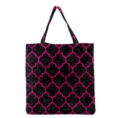 Tile1 Black Marble & Pink Leather (r) Grocery Tote Bag by trendistuff