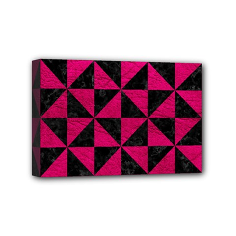 Triangle1 Black Marble & Pink Leather Mini Canvas 6  X 4  by trendistuff