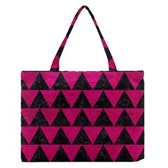 Triangle2 Black Marble & Pink Leather Zipper Medium Tote Bag by trendistuff
