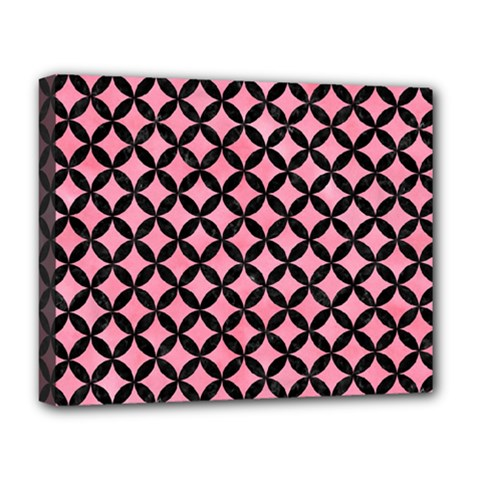 Circles3 Black Marble & Pink Watercolor Deluxe Canvas 20  X 16   by trendistuff