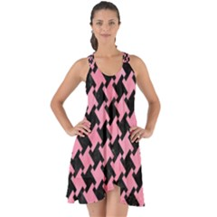 Houndstooth2 Black Marble & Pink Watercolor Show Some Back Chiffon Dress by trendistuff