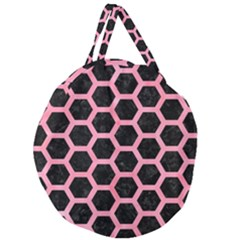 Hexagon2 Black Marble & Pink Watercolor (r) Giant Round Zipper Tote by trendistuff