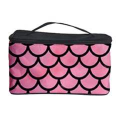 Scales1 Black Marble & Pink Watercolor Cosmetic Storage Case by trendistuff