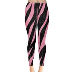 Skin3 Black Marble & Pink Watercolor (r) Leggings  by trendistuff