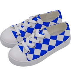 Blue White Diamonds Seamless Kids  Low Top Canvas Sneakers by Onesevenart
