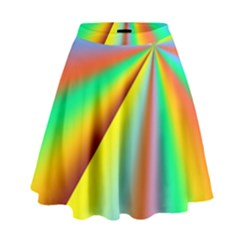 Burst Radial Shine Sunburst Sun High Waist Skirt by Onesevenart