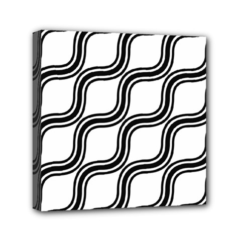 Diagonal Pattern Background Black And White Mini Canvas 6  X 6  by Onesevenart