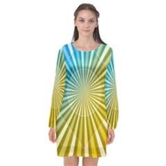 Abstract Art Art Radiation Long Sleeve Chiffon Shift Dress