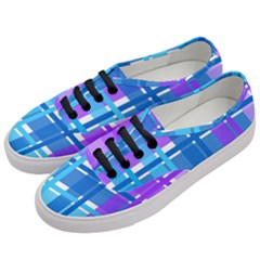 Gingham Pattern Blue Purple Shades Women s Classic Low Top Sneakers by Onesevenart