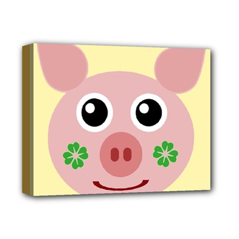 Luck Lucky Pig Pig Lucky Charm Deluxe Canvas 14  X 11  by Onesevenart