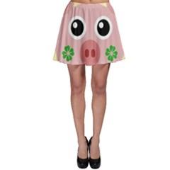 Luck Lucky Pig Pig Lucky Charm Skater Skirt by Onesevenart