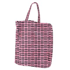 Woven1 Black Marble & Pink Watercolor Giant Grocery Zipper Tote by trendistuff