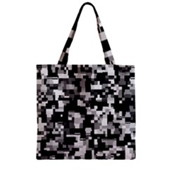 Noise Texture Graphics Generated Zipper Grocery Tote Bag by Onesevenart