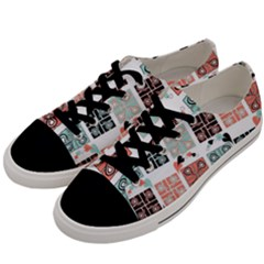 Mint Black Coral Heart Paisley Men s Low Top Canvas Sneakers by Onesevenart