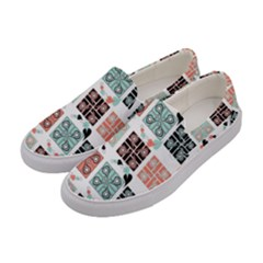 Mint Black Coral Heart Paisley Women s Canvas Slip Ons by Onesevenart