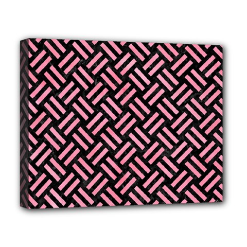 Woven2 Black Marble & Pink Watercolor (r) Deluxe Canvas 20  X 16   by trendistuff