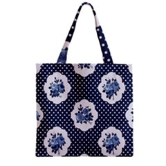 Shabby Chic Navy Blue Zipper Grocery Tote Bag by 8fugoso