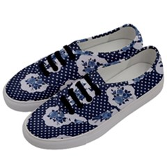 Shabby Chic Navy Blue Women s Classic Low Top Sneakers by 8fugoso