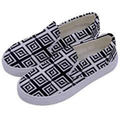 Seamless Pattern Background Black And White Kids  Canvas Slip Ons by Onesevenart