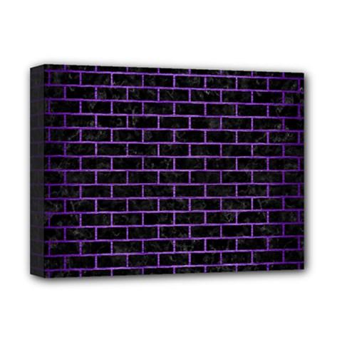 Brick1 Black Marble & Purple Brushed Metal (r) Deluxe Canvas 16  X 12   by trendistuff