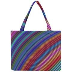 Multicolored Stripe Curve Striped Mini Tote Bag by Onesevenart