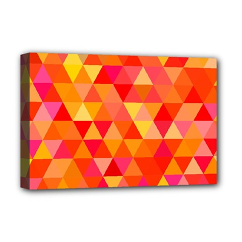 Triangle Tile Mosaic Pattern Deluxe Canvas 18  X 12   by Onesevenart