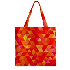 Triangle Tile Mosaic Pattern Zipper Grocery Tote Bag by Onesevenart