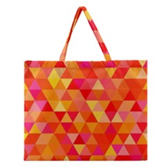 Triangle Tile Mosaic Pattern Zipper Large Tote Bag by Onesevenart