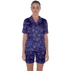 Snowflakes Pattern Satin Short Sleeve Pyjamas Set by Onesevenart