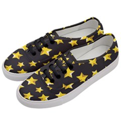 Yellow Stars Pattern Women s Classic Low Top Sneakers by Onesevenart