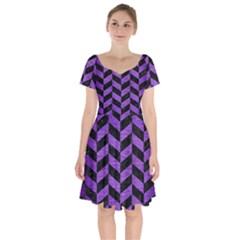 Chevron1 Black Marble & Purple Brushed Metal Short Sleeve Bardot Dress