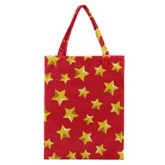 Yellow Stars Red Background Pattern Classic Tote Bag by Onesevenart