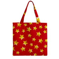 Yellow Stars Red Background Pattern Zipper Grocery Tote Bag by Onesevenart